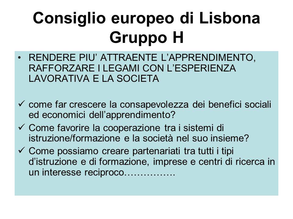 Consiglio europeo di Lisbona Gruppo H RENDERE PIU ATTRAENTE LAPPRENDIMENTO, RAFFORZARE I LEGAMI CON LESPERIENZA LAVORATIVA E LA SOCIETA come far crescere la consapevolezza dei benefici sociali ed economici dellapprendimento.