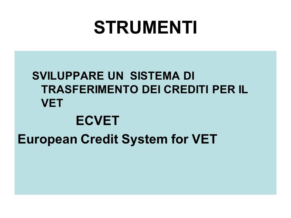 STRUMENTI SVILUPPARE UN SISTEMA DI TRASFERIMENTO DEI CREDITI PER IL VET ECVET European Credit System for VET