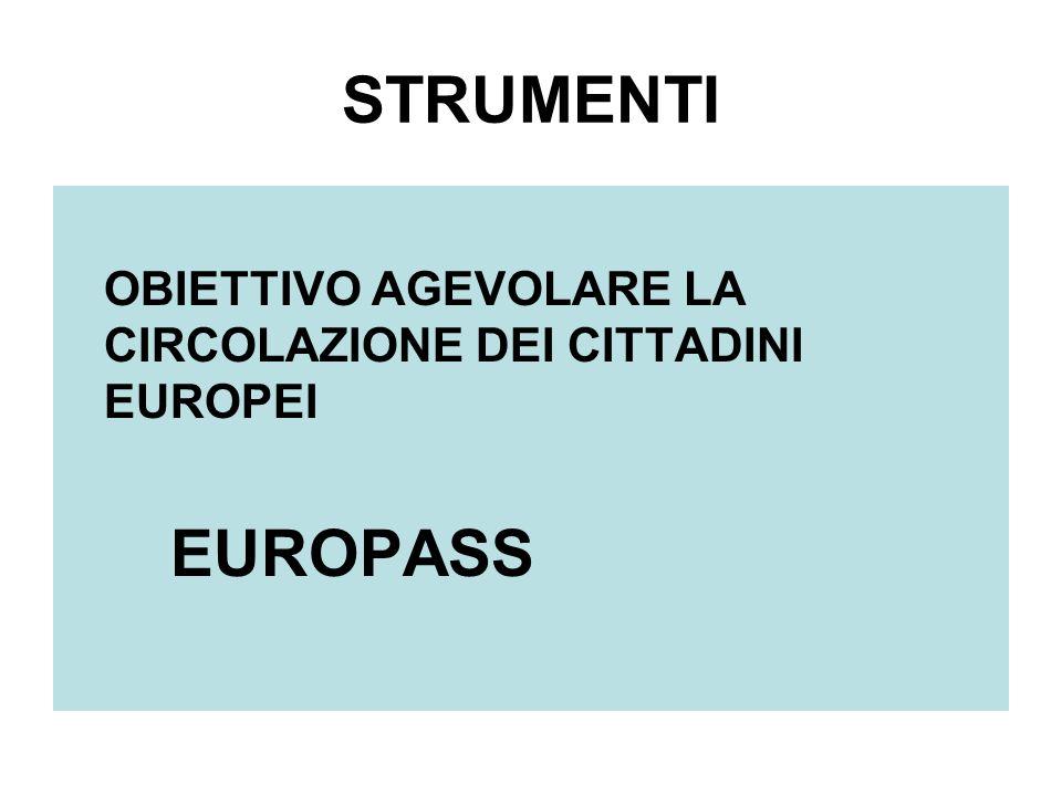 STRUMENTI OBIETTIVO AGEVOLARE LA CIRCOLAZIONE DEI CITTADINI EUROPEI EUROPASS