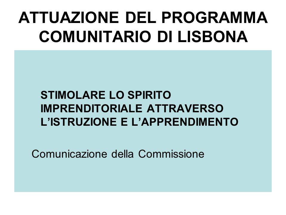 ATTUAZIONE DEL PROGRAMMA COMUNITARIO DI LISBONA STIMOLARE LO SPIRITO IMPRENDITORIALE ATTRAVERSO LISTRUZIONE E LAPPRENDIMENTO Comunicazione della Commissione