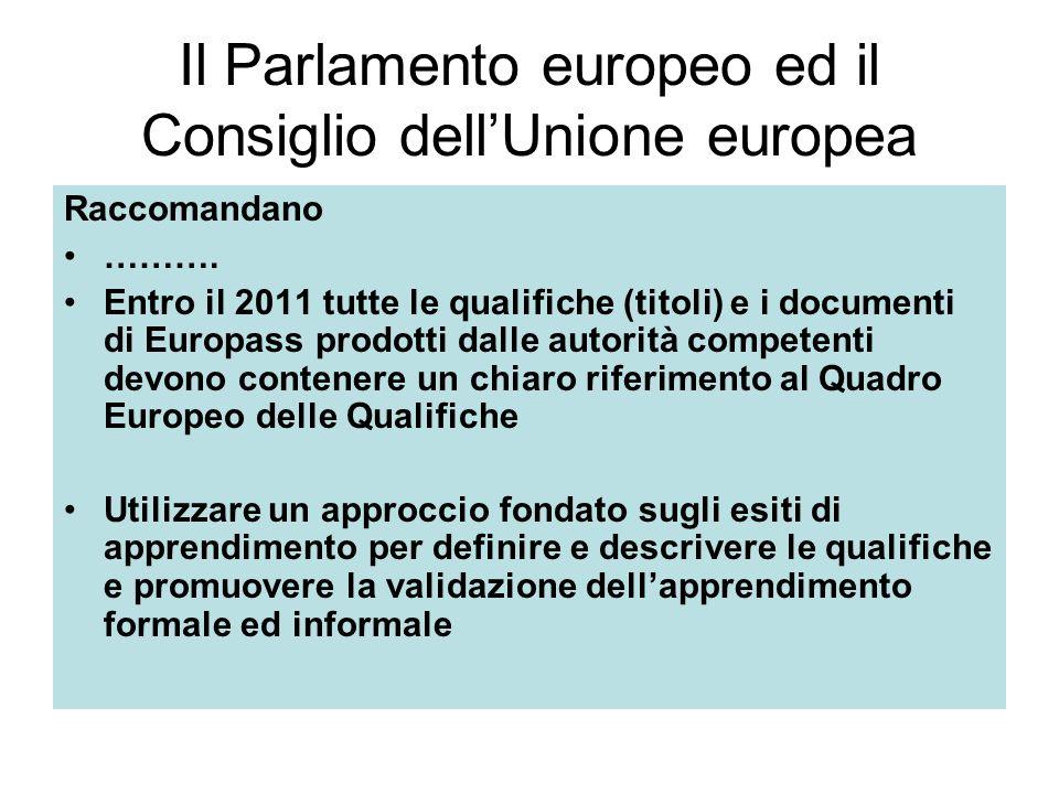 Il Parlamento europeo ed il Consiglio dellUnione europea Raccomandano ……….