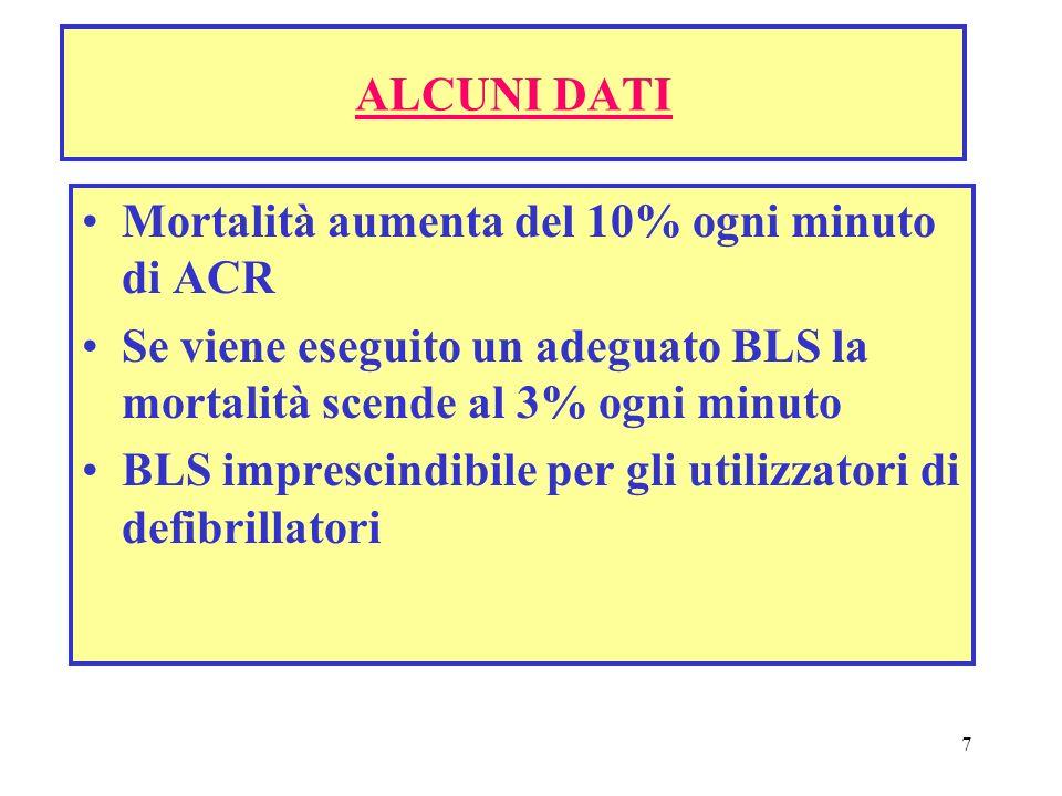 7 ALCUNI DATI Mortalità aumenta del 10% ogni minuto di ACR Se viene eseguito un adeguato BLS la mortalità scende al 3% ogni minuto BLS imprescindibile