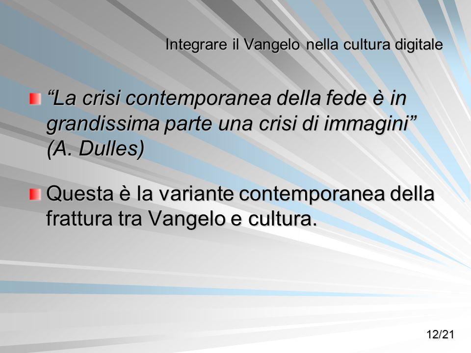 La crisi contemporanea della fede è in grandissima parte una crisi di immagini (A. Dulles) Questa è la variante contemporanea della frattura tra Vange
