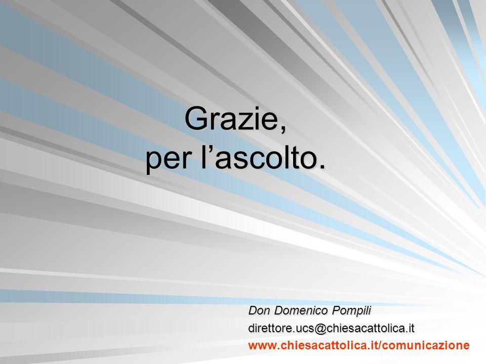 Grazie, per lascolto. Don Domenico Pompili direttore.ucs@chiesacattolica.it www.chiesacattolica.it/comunicazione
