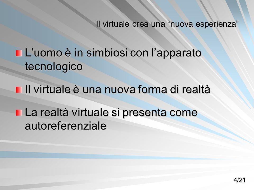 Il virtuale crea una nuova esperienza Luomo è in simbiosi con lapparato tecnologico Il virtuale è una nuova forma di realtà La realtà virtuale si pres