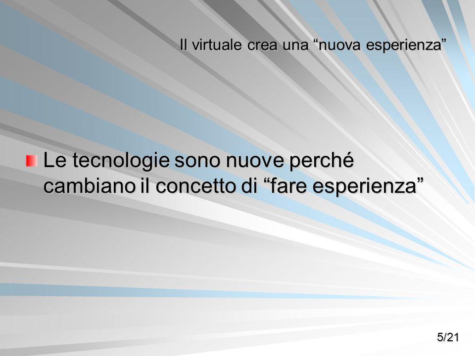 Le tecnologie sono nuove perché cambiano il concetto di fare esperienza Il virtuale crea una nuova esperienza 5/21