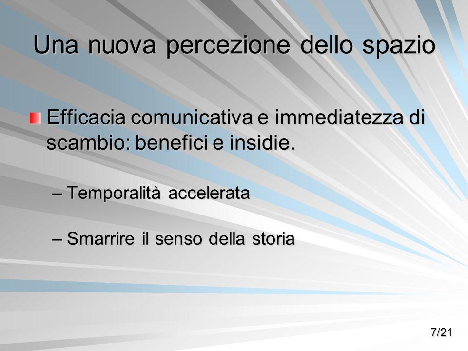Una nuova percezione dello spazio Efficacia comunicativa e immediatezza di scambio: benefici e insidie. –Temporalità accelerata –Smarrire il senso del