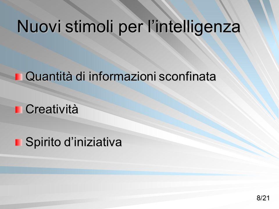 Nuovi stimoli per lintelligenza Quantità di informazioni sconfinata Creatività Spirito diniziativa 8/21