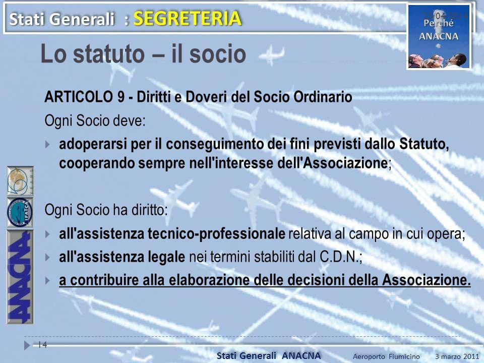 Lo statuto – il socio ARTICOLO 9 - Diritti e Doveri del Socio Ordinario Ogni Socio deve: adoperarsi per il conseguimento dei fini previsti dallo Statu