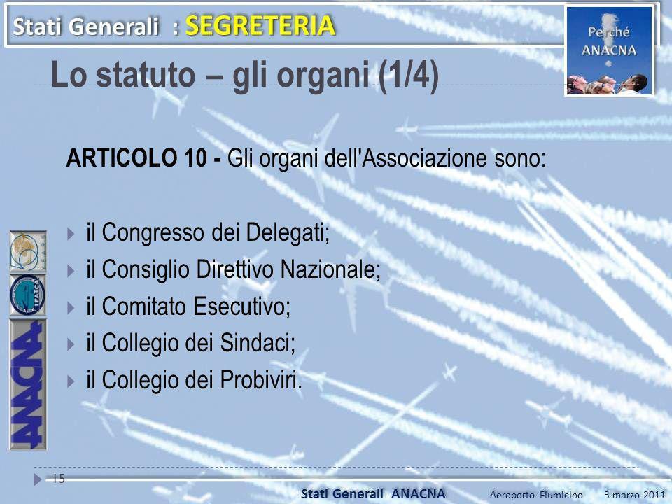 ARTICOLO 10 - Gli organi dell'Associazione sono: il Congresso dei Delegati; il Consiglio Direttivo Nazionale; il Comitato Esecutivo; il Collegio dei S