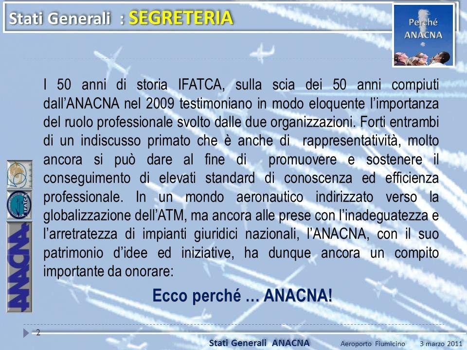 I 50 anni di storia IFATCA, sulla scia dei 50 anni compiuti dallANACNA nel 2009 testimoniano in modo eloquente limportanza del ruolo professionale svo