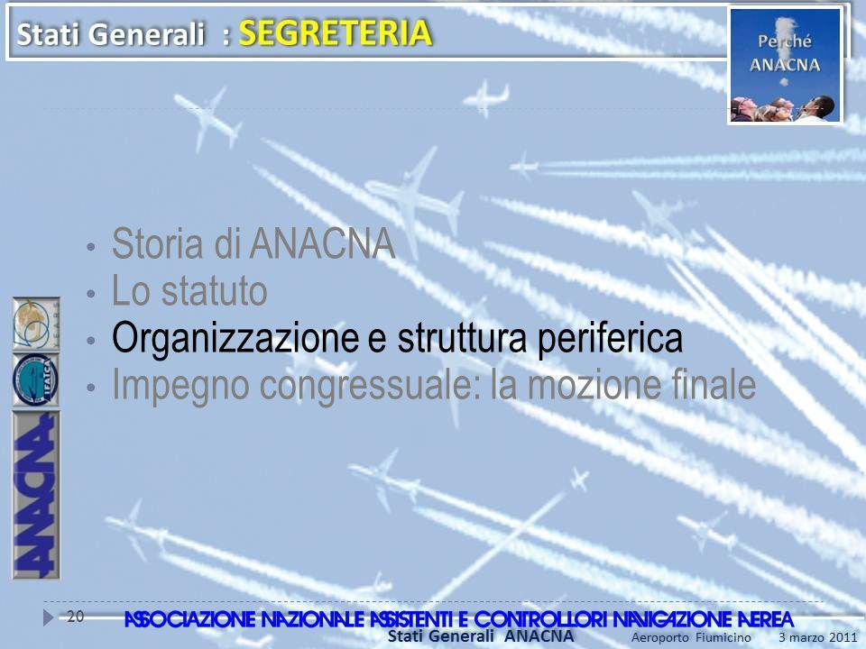 Storia di ANACNA Lo statuto Organizzazione e struttura periferica Impegno congressuale: la mozione finale 20