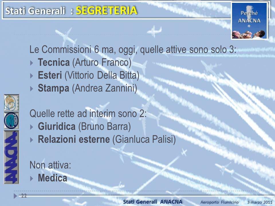 Le Commissioni 6 ma, oggi, quelle attive sono solo 3: Tecnica (Arturo Franco) Esteri (Vittorio Della Bitta) Stampa (Andrea Zannini) Quelle rette ad in