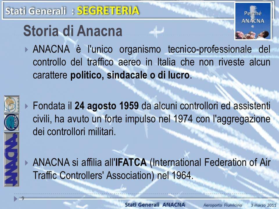 Storia di Anacna ANACNA è l'unico organismo tecnico-professionale del controllo del traffico aereo in Italia che non riveste alcun carattere politico,