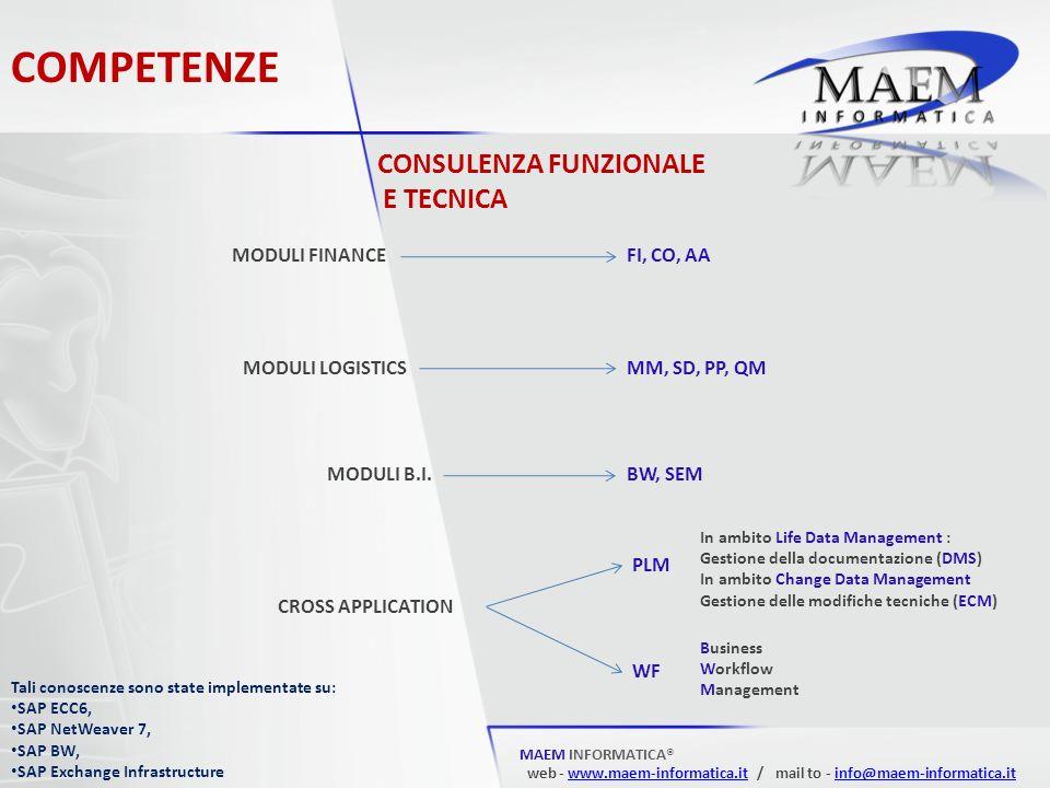 COMPETENZE MAEM INFORMATICA® web - www.maem-informatica.it / mail to - info@maem-informatica.itwww.maem-informatica.itinfo@maem-informatica.it CONSULENZA FUNZIONALE E TECNICA MODULI FINANCE MODULI LOGISTICS MODULI B.I.
