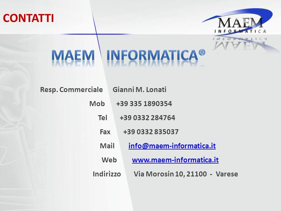CONTATTI Resp. Commerciale Mob Tel Fax Mail Web Indirizzo Gianni M.