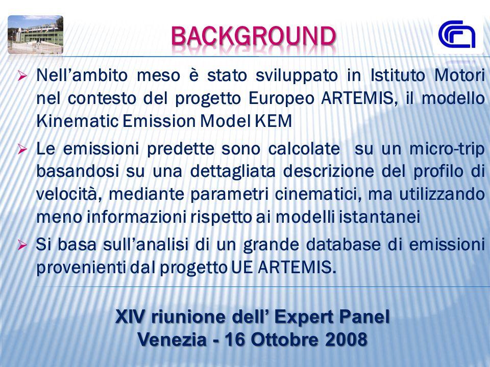 Nellambito meso è stato sviluppato in Istituto Motori nel contesto del progetto Europeo ARTEMIS, il modello Kinematic Emission Model KEM Le emissioni
