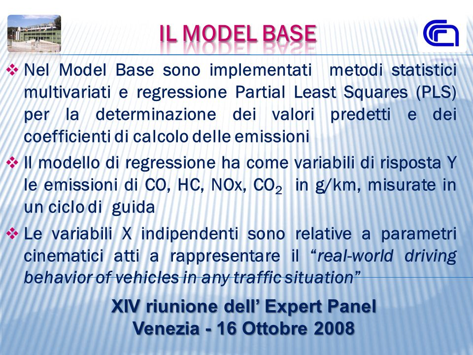 Nel Model Base sono implementati metodi statistici multivariati e regressione Partial Least Squares (PLS) per la determinazione dei valori predetti e
