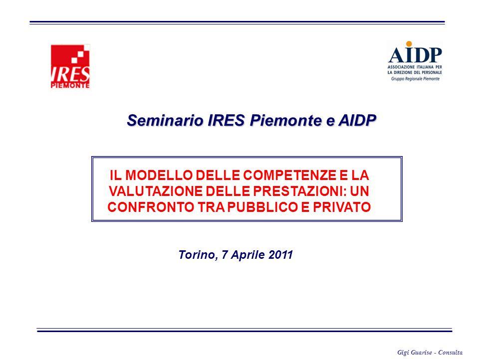 Gigi Guarise - Consulta Seminario IRES Piemonte e AIDP Torino, 7 Aprile 2011 IL MODELLO DELLE COMPETENZE E LA VALUTAZIONE DELLE PRESTAZIONI: UN CONFRO