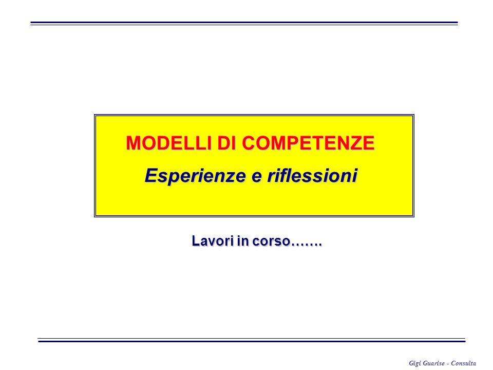 Gigi Guarise - Consulta MODELLI DI COMPETENZE Esperienze e riflessioni Lavori in corso…….