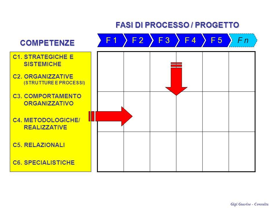 Gigi Guarise - Consulta F 1 F 2 F 3F 4F 5 FASI DI PROCESSO / PROGETTO F nCOMPETENZE C1. STRATEGICHE E SISTEMICHE C2. ORGANIZZATIVE (STRUTTURE E PROCES