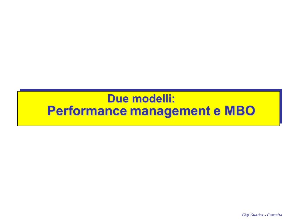 Due modelli: Performance management e MBO