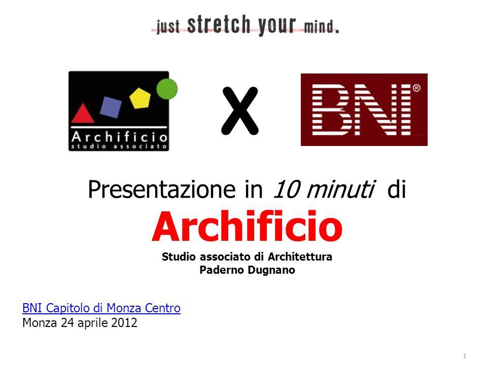 BNI Capitolo di Monza Centro Monza 24 aprile 2012 X Studio associato di Architettura Paderno Dugnano Archificio Presentazione in 10 minuti di 1
