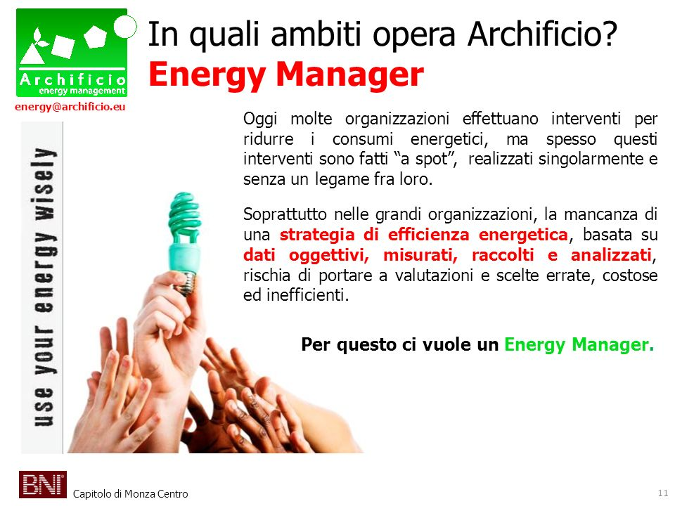 Capitolo di Monza Centro energy@archificio.eu Oggi molte organizzazioni effettuano interventi per ridurre i consumi energetici, ma spesso questi inter