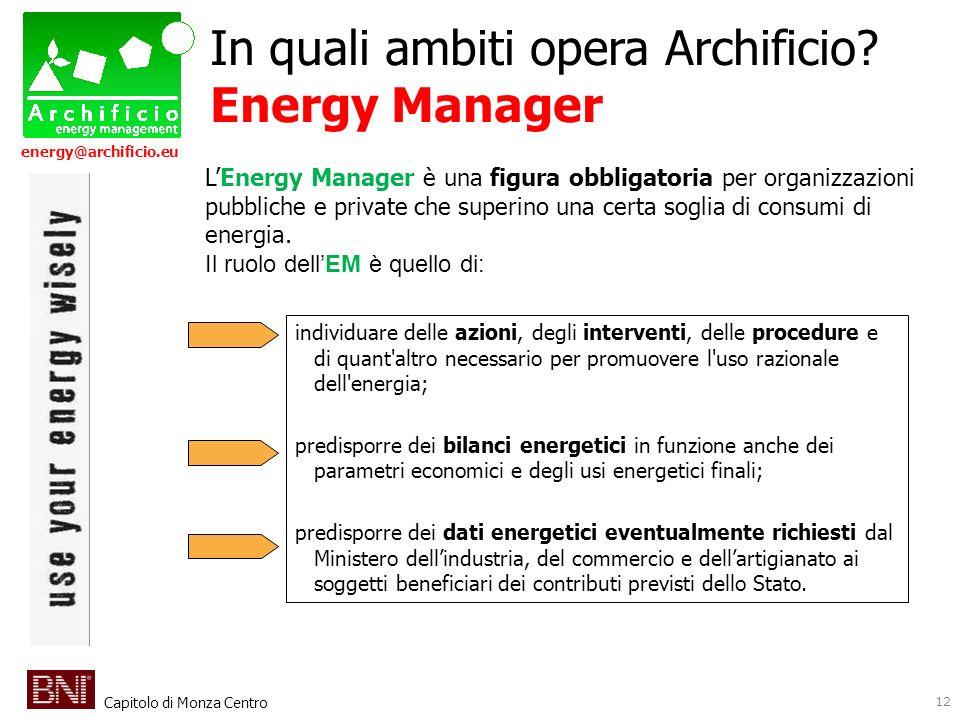 Capitolo di Monza Centro energy@archificio.eu 12 LEnergy Manager è una figura obbligatoria per organizzazioni pubbliche e private che superino una cer