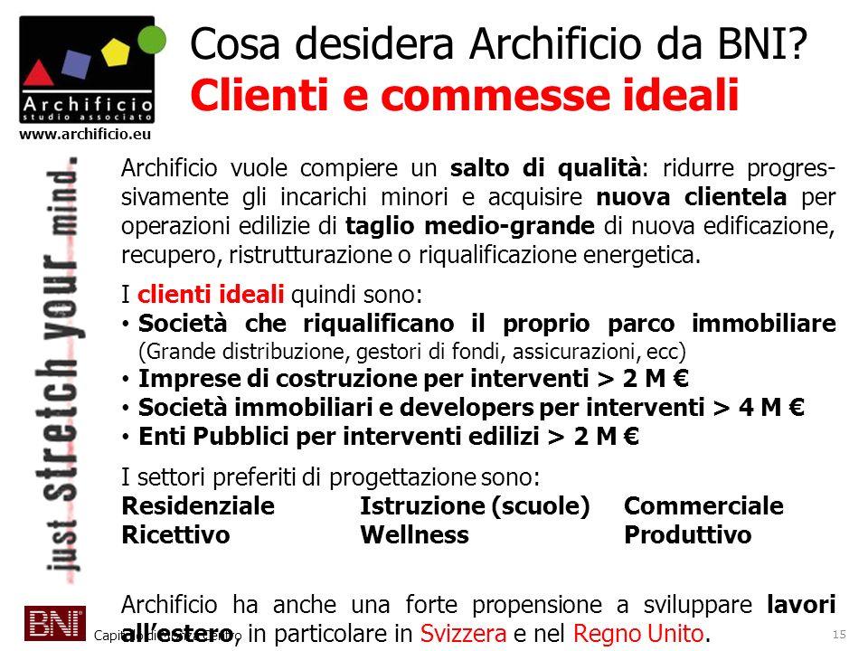 Capitolo di Monza Centro www.archificio.eu Cosa desidera Archificio da BNI? Clienti e commesse ideali Archificio vuole compiere un salto di qualità: r