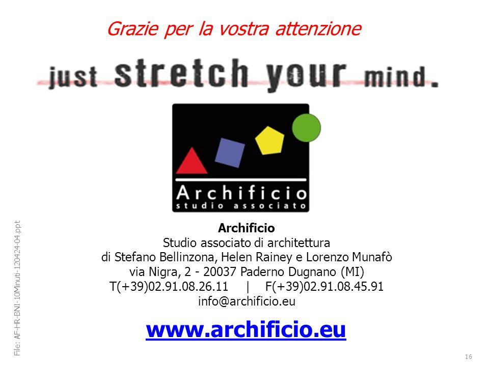 Archificio Studio associato di architettura di Stefano Bellinzona, Helen Rainey e Lorenzo Munafò via Nigra, 2 - 20037 Paderno Dugnano (MI) T(+39)02.91