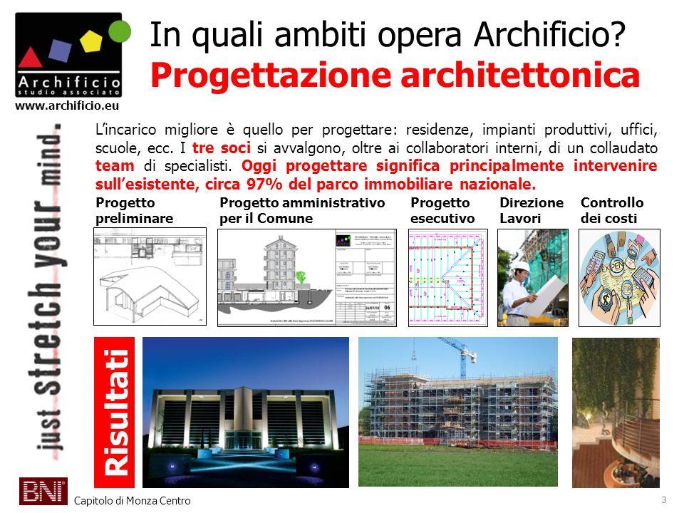 Capitolo di Monza Centro www.archificio.eu In quali ambiti opera Archificio? Progettazione architettonica Lincarico migliore è quello per progettare: