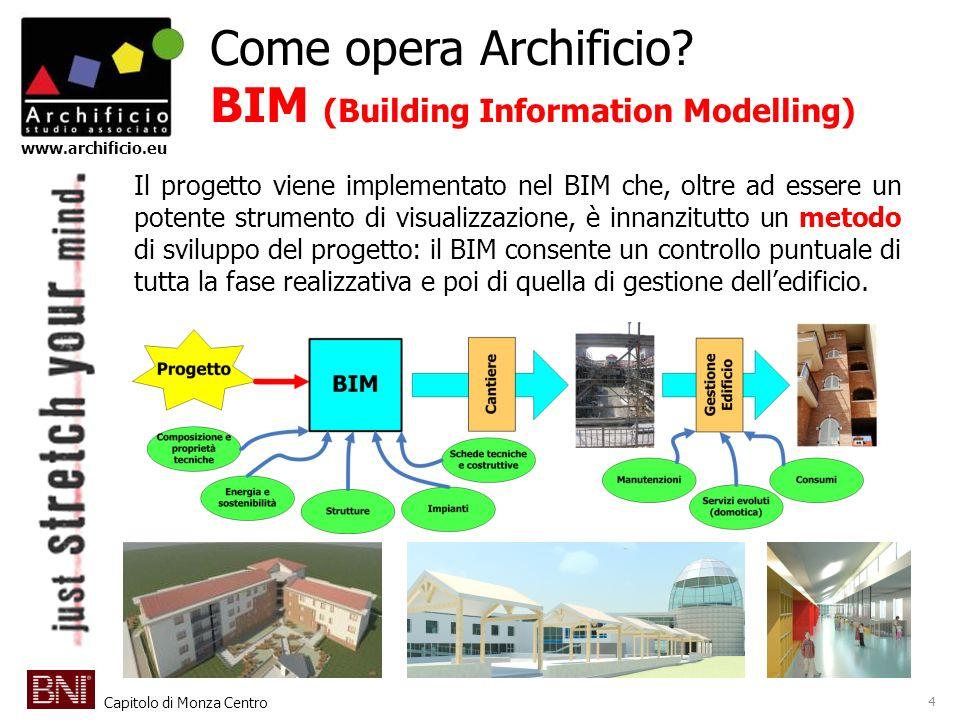 Capitolo di Monza Centro www.archificio.eu Come opera Archificio? BIM (Building Information Modelling) 4 Il progetto viene implementato nel BIM che, o