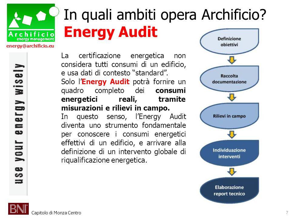 Capitolo di Monza Centro energy@archificio.eu 7 In quali ambiti opera Archificio? Energy Audit La certificazione energetica non considera tutti consum