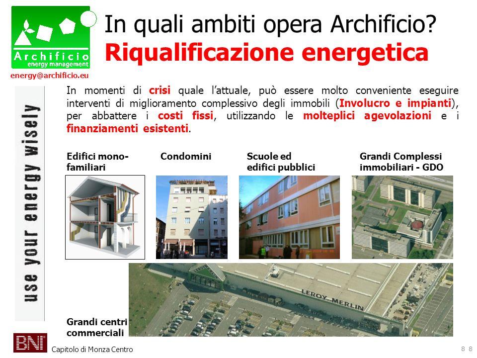 Capitolo di Monza Centro energy@archificio.eu 8 In quali ambiti opera Archificio? Riqualificazione energetica In momenti di crisi quale lattuale, può