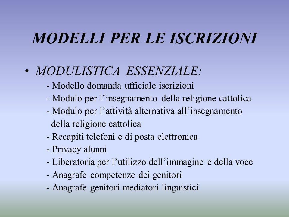 MODELLI PER LE ISCRIZIONI MODULISTICA ESSENZIALE: - Modello domanda ufficiale iscrizioni - Modulo per linsegnamento della religione cattolica - Modulo