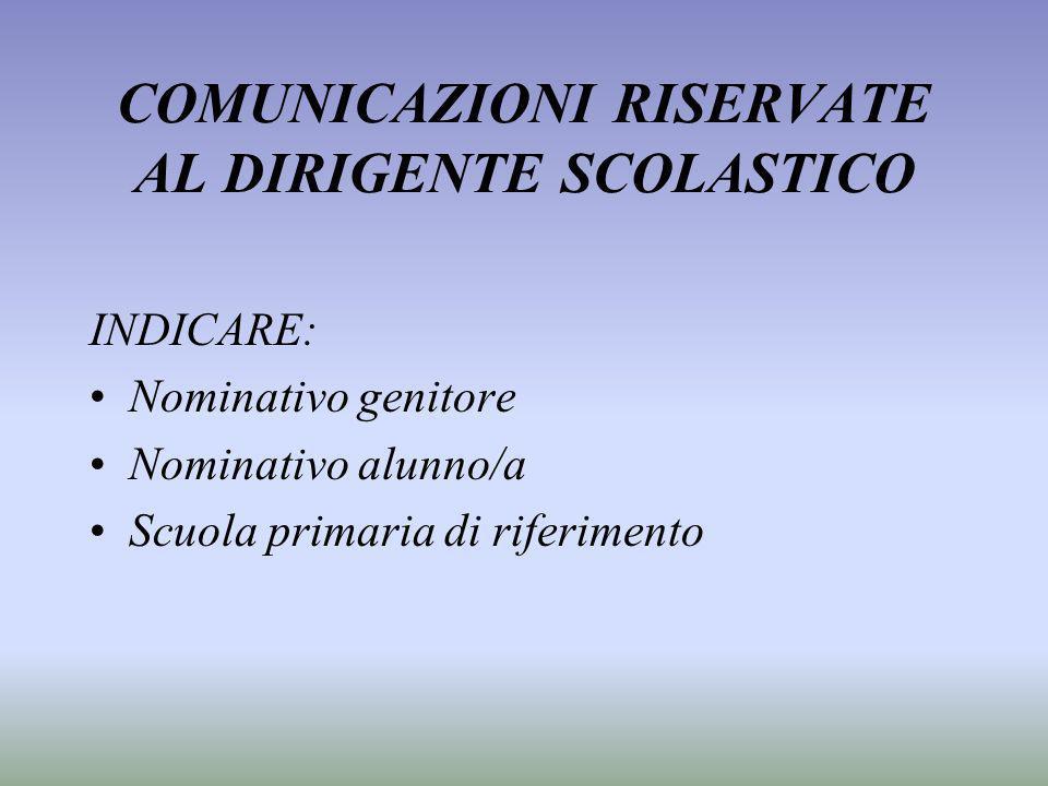 COMUNICAZIONI RISERVATE AL DIRIGENTE SCOLASTICO INDICARE: Nominativo genitore Nominativo alunno/a Scuola primaria di riferimento