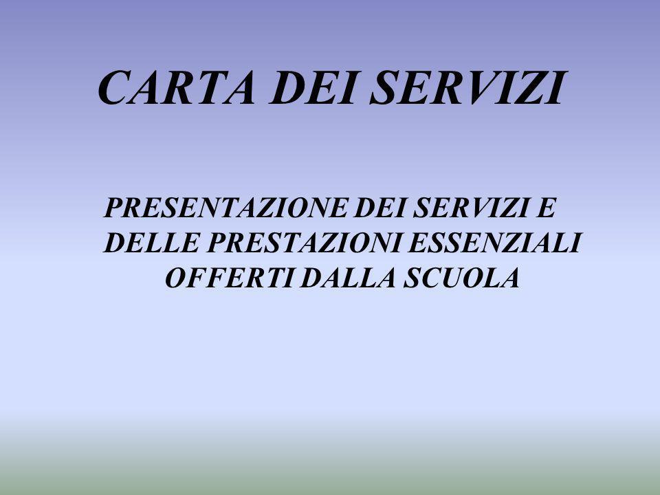 CARTA DEI SERVIZI PRESENTAZIONE DEI SERVIZI E DELLE PRESTAZIONI ESSENZIALI OFFERTI DALLA SCUOLA