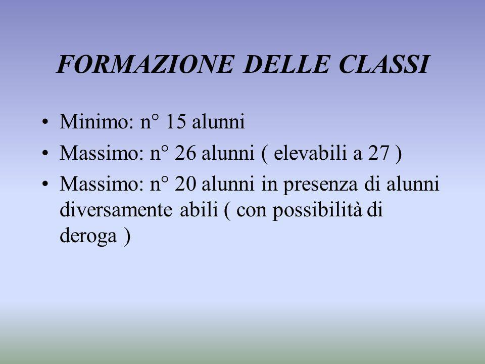 FORMAZIONE DELLE CLASSI Minimo: n° 15 alunni Massimo: n° 26 alunni ( elevabili a 27 ) Massimo: n° 20 alunni in presenza di alunni diversamente abili (