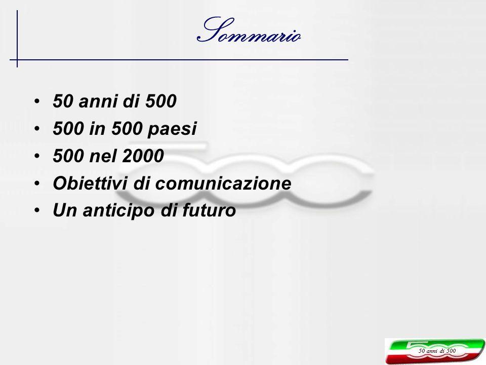 50 anni di 500 500 in 500 paesi 500 nel 2000 Obiettivi di comunicazione Un anticipo di futuro Sommario