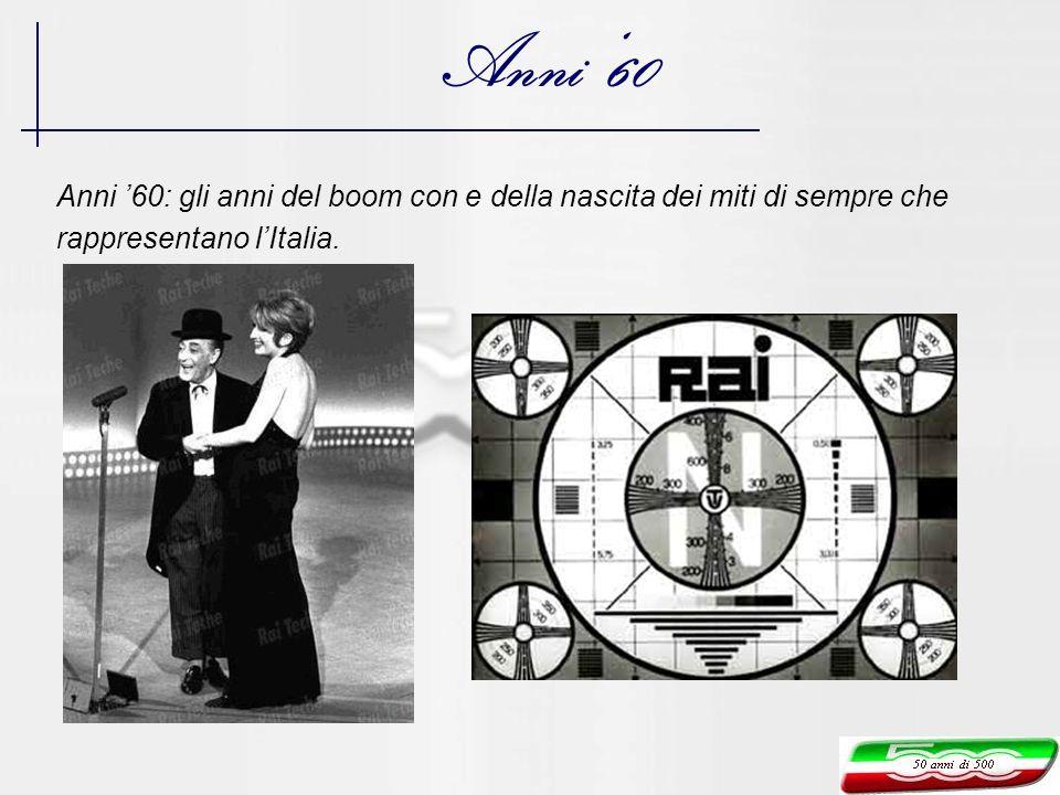 Anni 60 Anni 60: gli anni del boom con e della nascita dei miti di sempre che rappresentano lItalia.