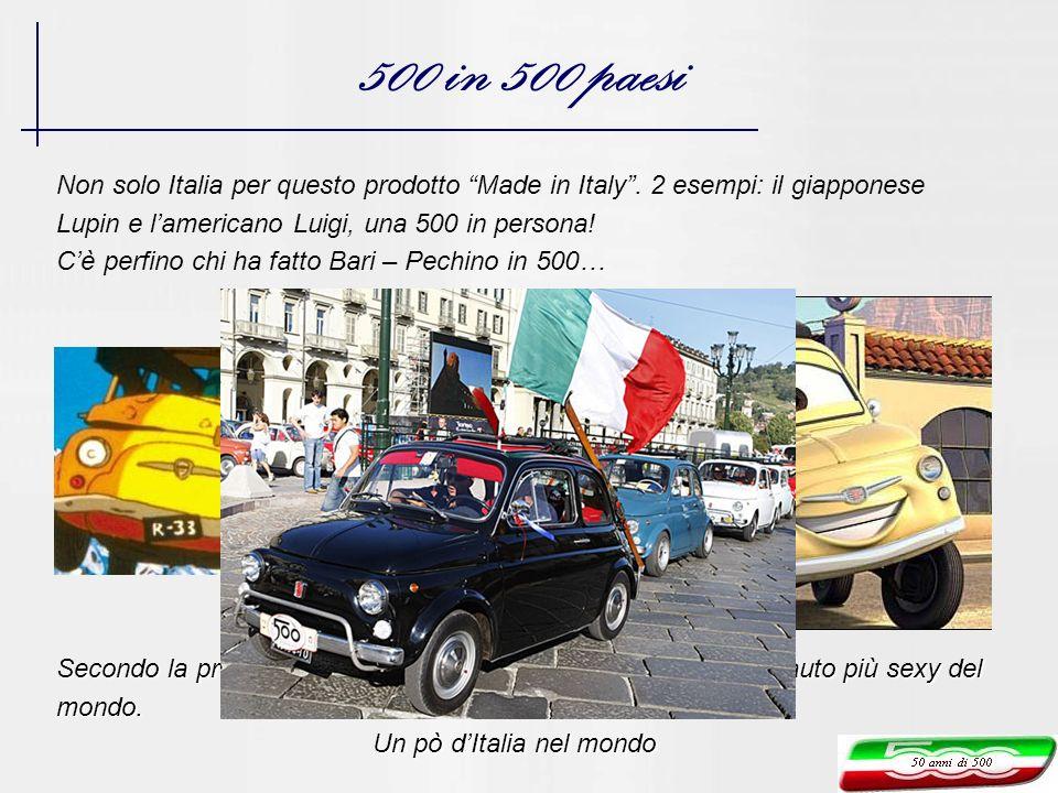 500 in 500 paesi Non solo Italia per questo prodotto Made in Italy. 2 esempi: il giapponese Lupin e lamericano Luigi, una 500 in persona! Cè perfino c