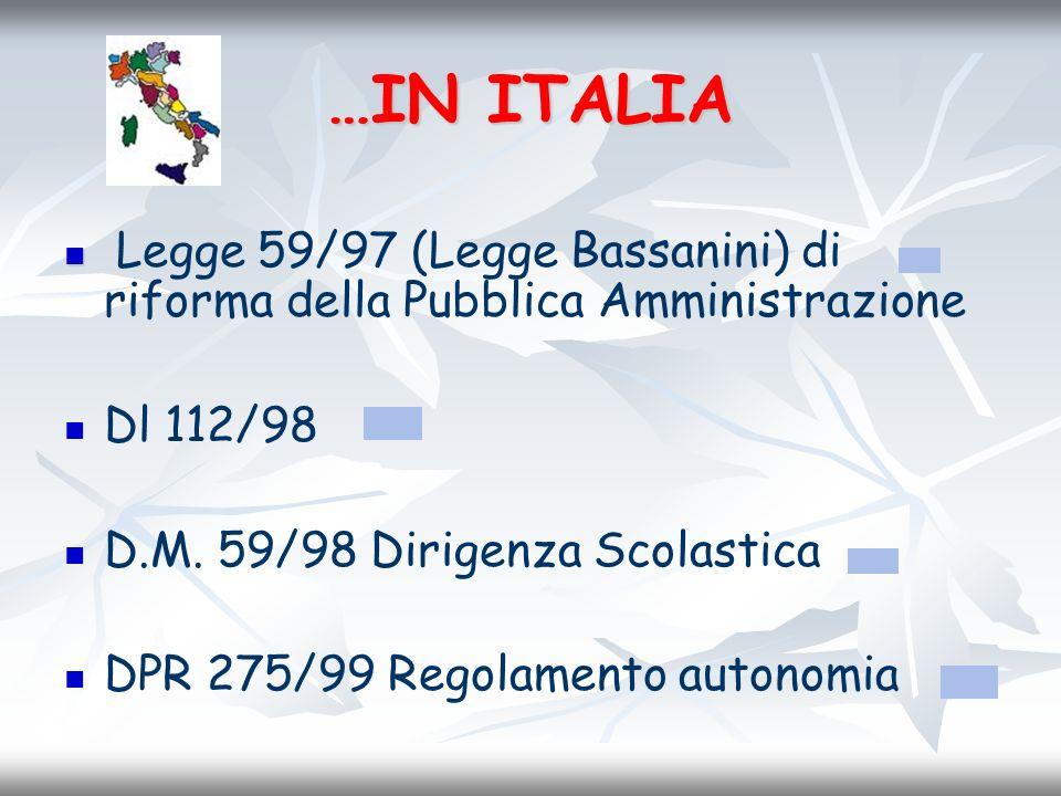 …IN ITALIA Legge 59/97 (Legge Bassanini) di riforma della Pubblica Amministrazione Dl 112/98 D.M. 59/98 Dirigenza Scolastica DPR 275/99 Regolamento au