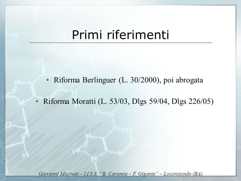 Giovanni Mutinati – I.I.S.S. B. Caramia – F. Gigante – Locorotondo (BA) Primi riferimenti Riforma Berlinguer (L. 30/2000), poi abrogata Riforma Moratt