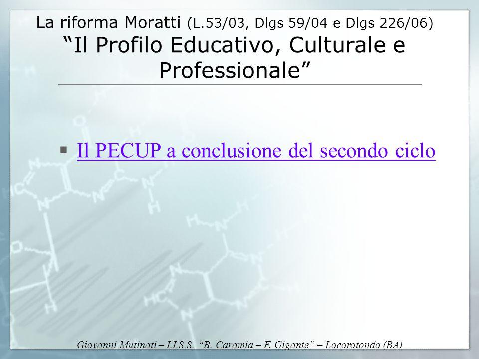 Giovanni Mutinati – I.I.S.S. B. Caramia – F. Gigante – Locorotondo (BA) La riforma Moratti (L.53/03, Dlgs 59/04 e Dlgs 226/06) Il Profilo Educativo, C