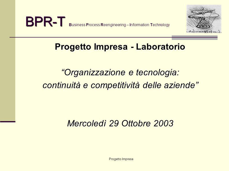 Progetto Impresa BPR-T BPR-T Business Process Reengineering – Information Technology … che da sempre danno origine a … COMPETENZA ORGANIZZATIVA / GESTIONALE + COMPETENZA TECNOLOGICA = INVESTIMENTI PROFITTEVOLI