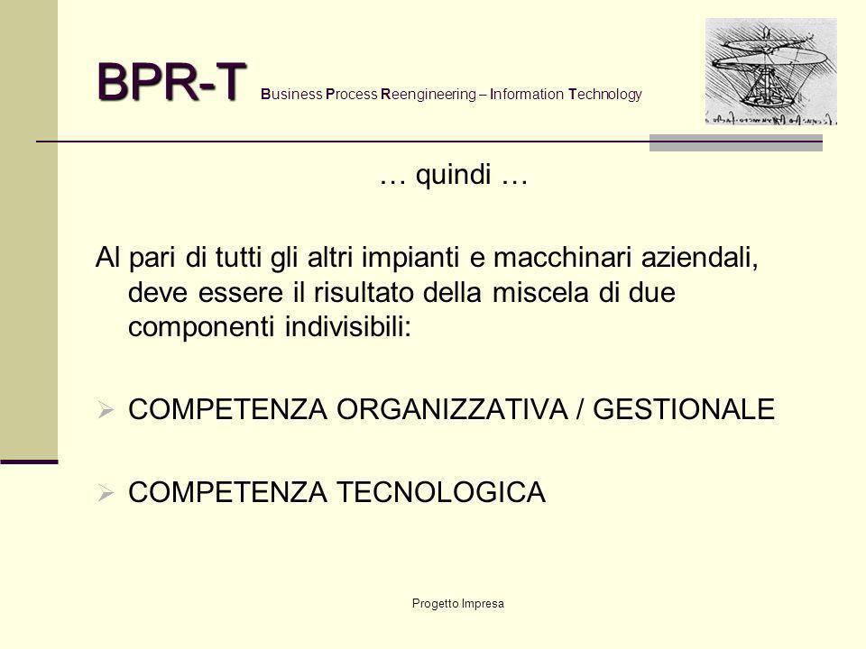 Progetto Impresa BPR-T BPR-T Business Process Reengineering – Information Technology La Tecnologia Informatica deve: essere uno strumento di business,