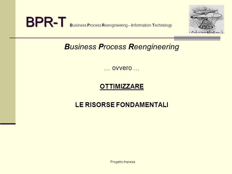 Progetto Impresa BPR-T BPR-T Business Process Reengineering – Information Technology Business Process Reengineering … ovvero …OTTIMIZZARE LE RISORSE FONDAMENTALI