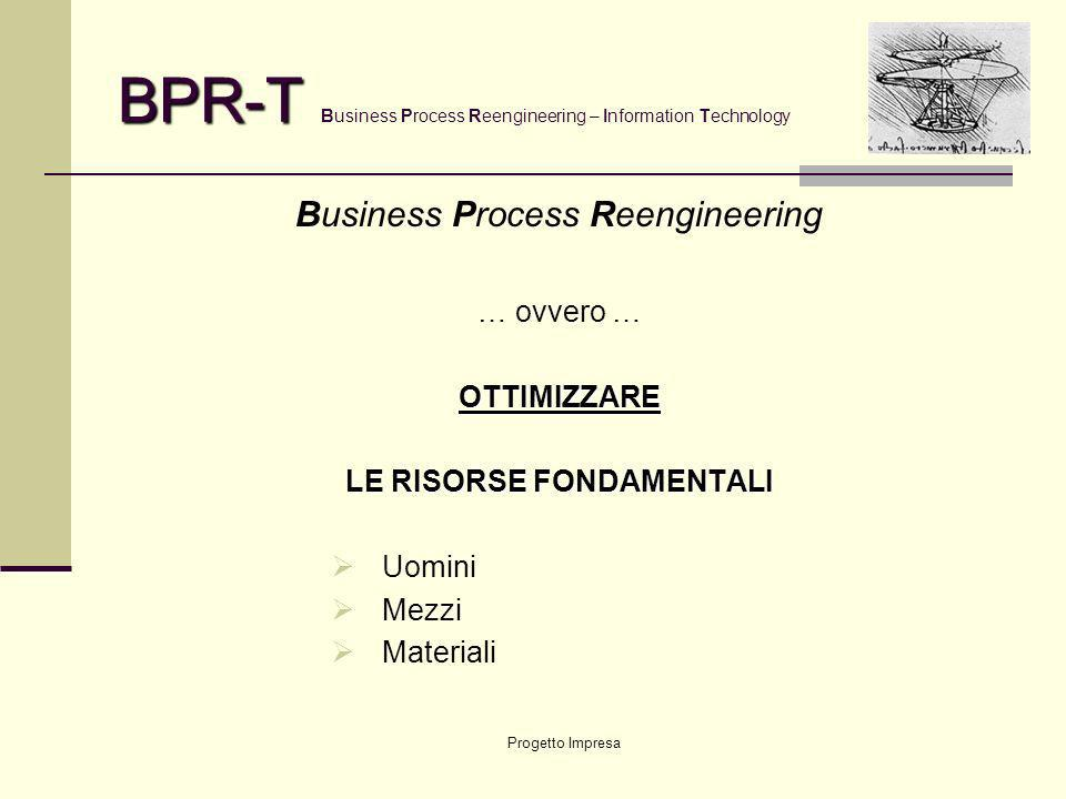 Progetto Impresa BPR-T BPR-T Business Process Reengineering – Information Technology Business Process Reengineering … ovvero …OTTIMIZZARE LE RISORSE FONDAMENTALI