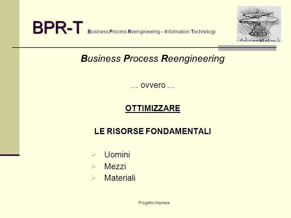 Progetto Impresa BPR-T BPR-T Business Process Reengineering – Information Technology Business Process Reengineering … ovvero …OTTIMIZZARE LE RISORSE FONDAMENTALI Uomini Mezzi Materiali